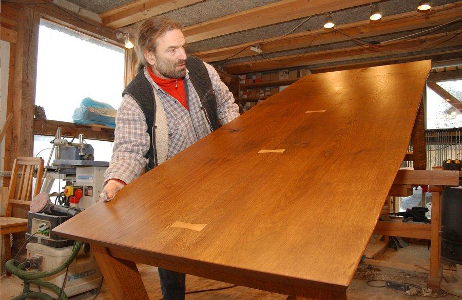 eichentisch selber bauen tischplatte selber verleimen. Black Bedroom Furniture Sets. Home Design Ideas